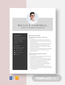 Academic Fieldwork Coordinator Resume Template