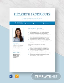 Academic Intervention Teacher Resume Template