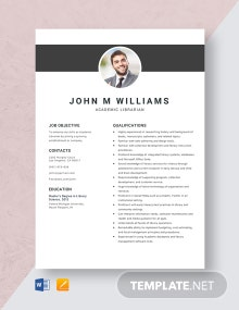 Academic Librarian Resume Template