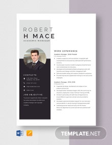 Academic Manager Resume Template