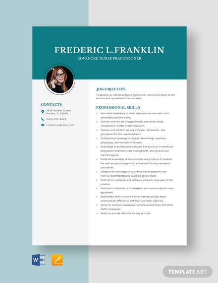 Advanced Nurse Practitioner Resume Template