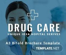 Free Drug Care A3 Bifold Brochure Template