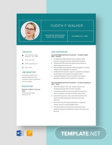 Advanced Registered Nurse Practitioner Resume Template