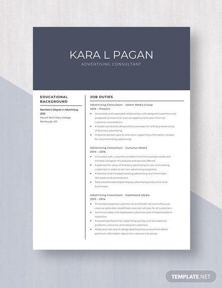 Advertising Consultant Resume Template