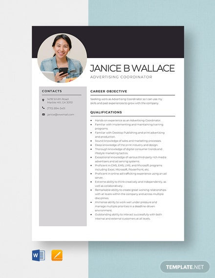 Advertising Coordinator Resume Template