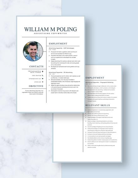 Advertising Copywriter Resume Download