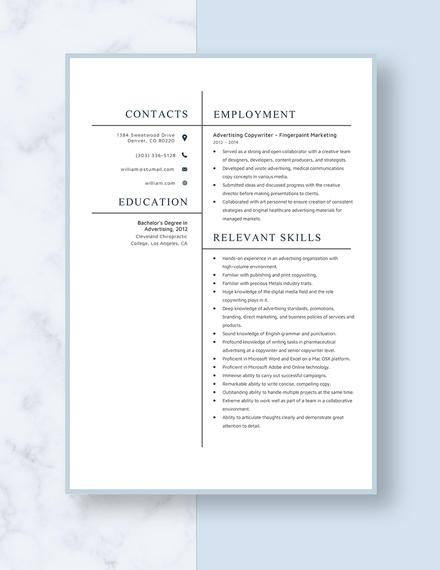 Advertising Copywriter Resume Template
