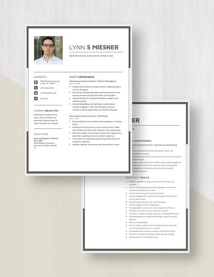 Advertising Creative Director Resume Download
