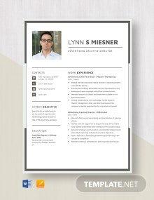 Advertising Creative Director Resume Template
