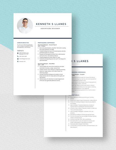 Advertising Designer Resume Download