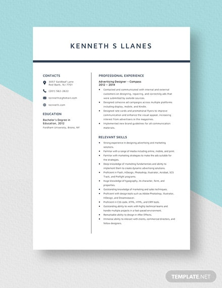 Advertising Designer Resume Template