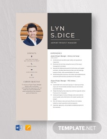 Airport Project Manager Resume Template