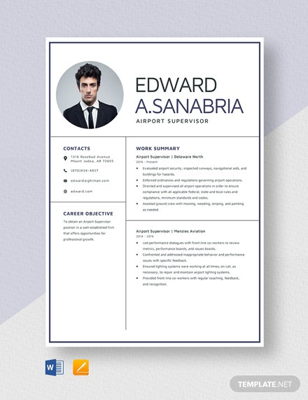Airport Supervisor Resume Template