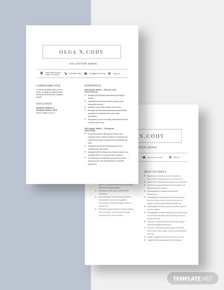 AIX System Admin Resume Download