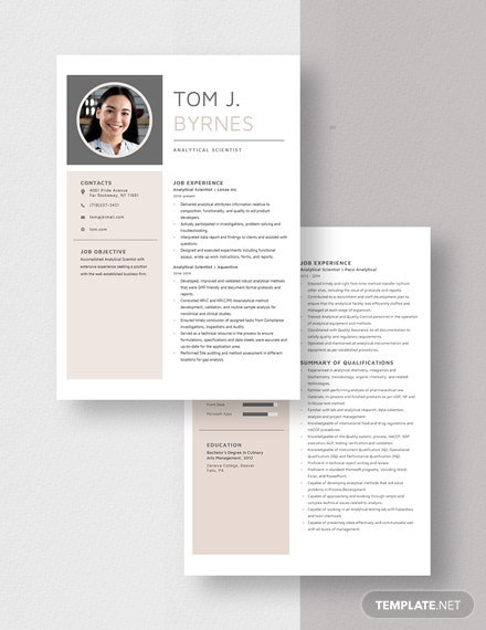 Analytical Scientist Resume Template Download