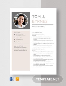 Analytical Scientist Resume Template