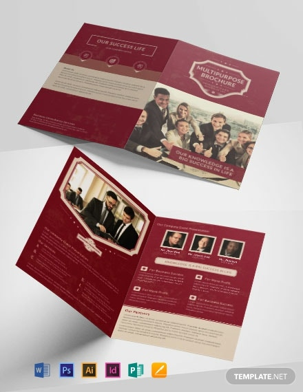 Free Retro Multipurpose Bifold Brochure Template