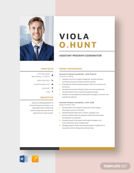 Assistant Program Coordinator Resume Template