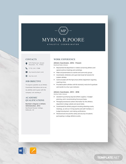 Athletic Coordinator Resume Template