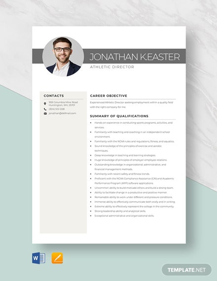 Athletic Director Resume Template