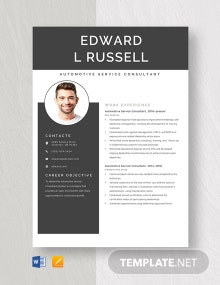 Automotive Service Consultant Resume Template