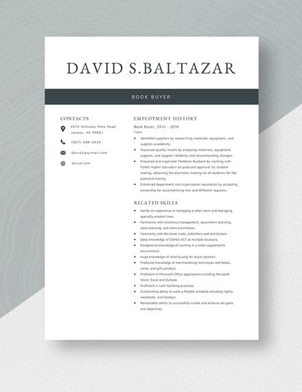 Book Buyer Resume Template