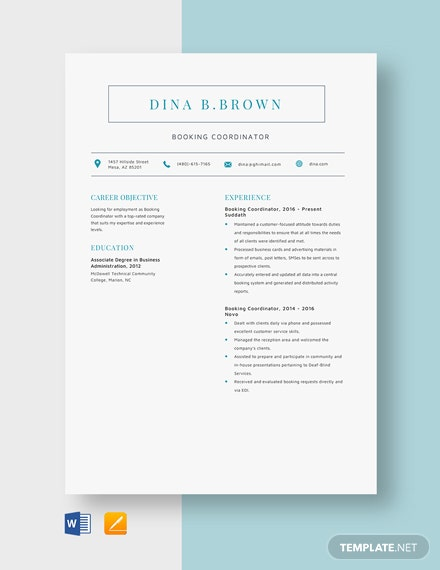 Booking Coordinator Resume Template