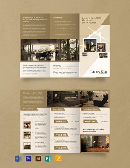 Free Hotel A3 Tri-Fold Brochure Template