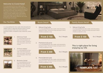 Free Hotel A3 Tri Fold Brochure Template In Adobe Photoshop