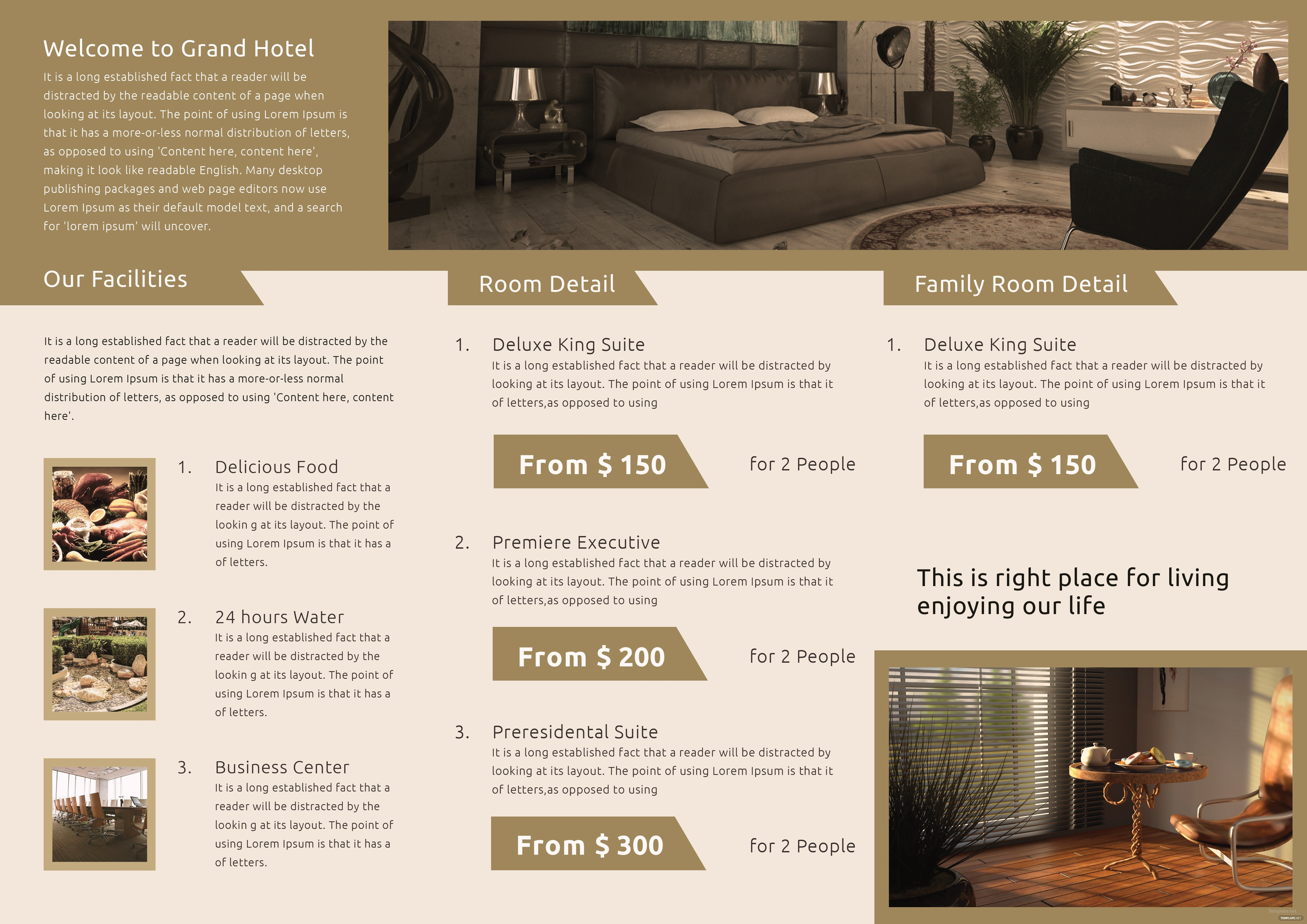 Download Hotel A3 Tri Fold Brochure Template