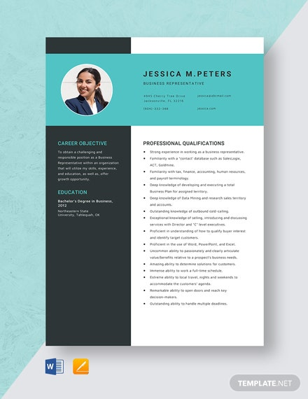 Business Representative Resume Template