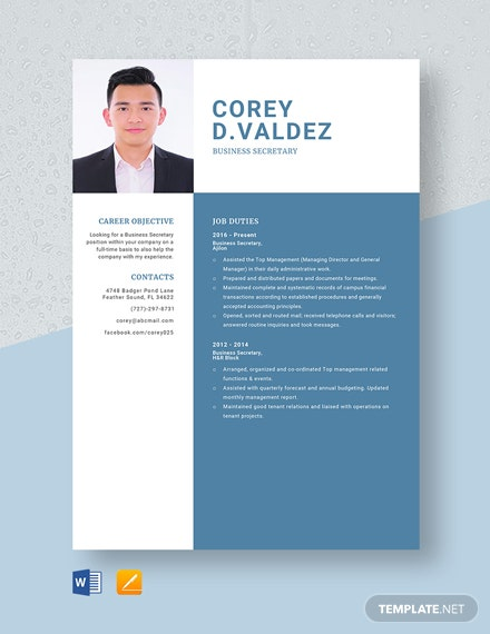 Business Secretary Resume Template
