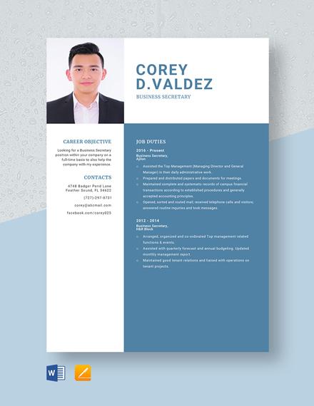 Business Secretary Resume Template