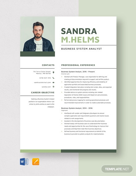 Business System Analyst Resume Template