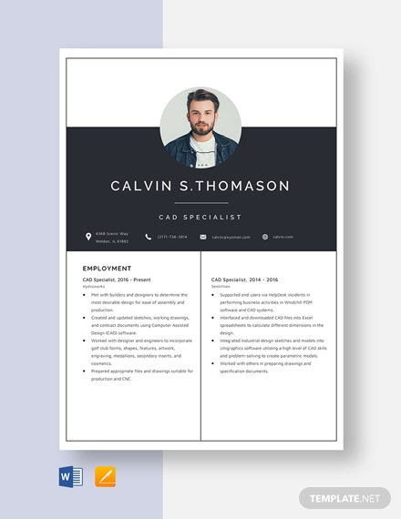CAD Specialist Resume Template