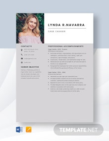 Cage Cashier Resume Template