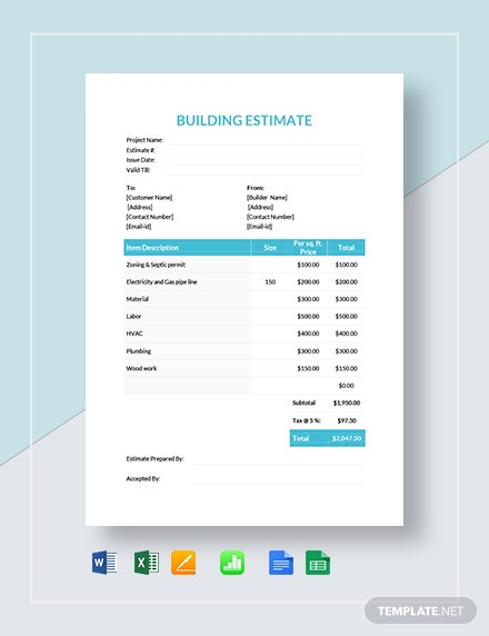 Building Estimate Template