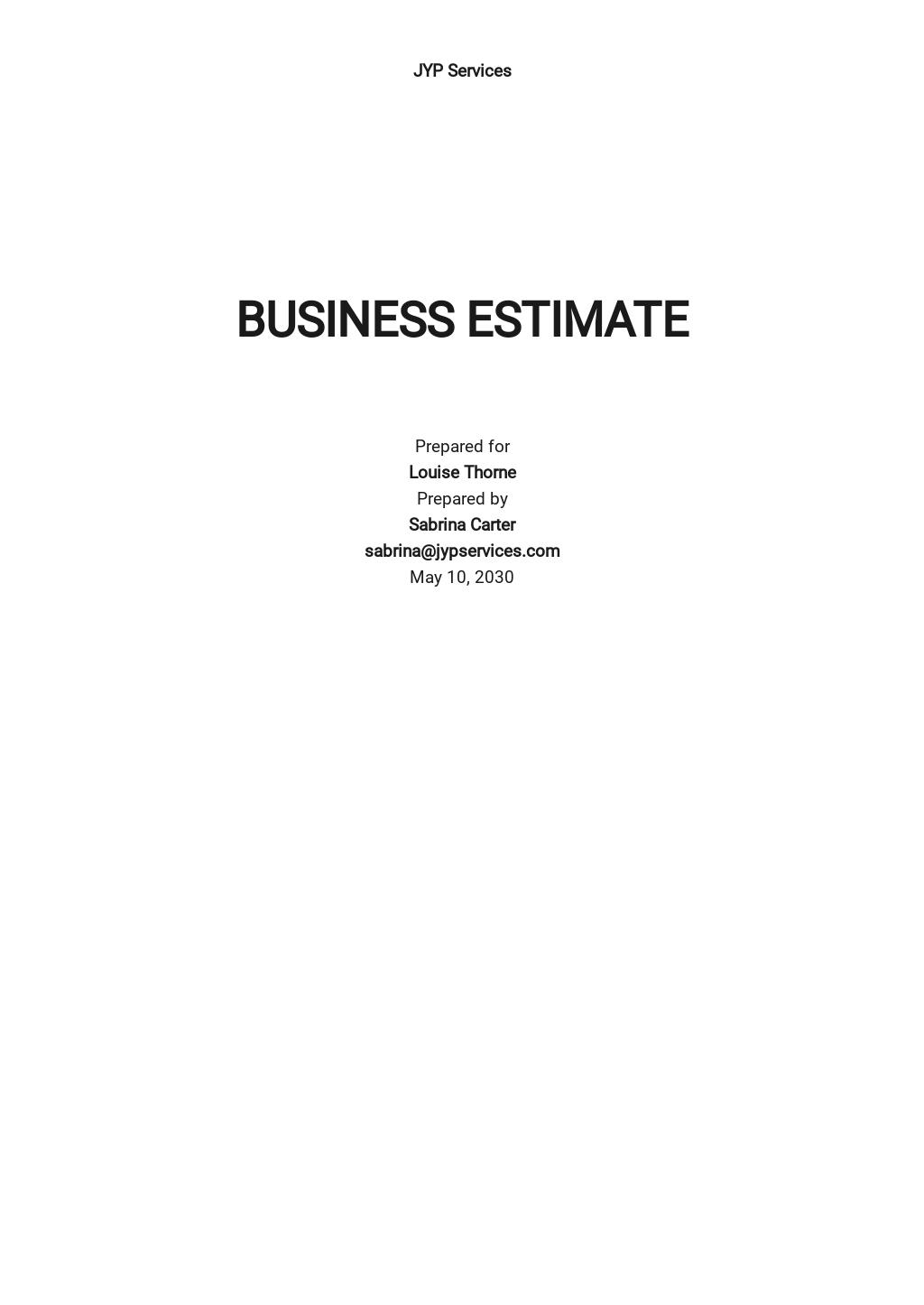 Business Estimate Template