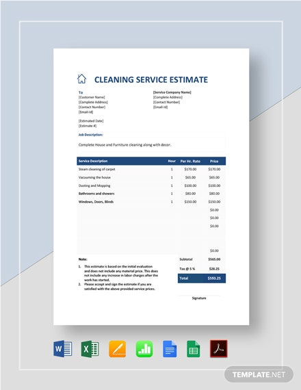 Cleaning Service Estimate Template