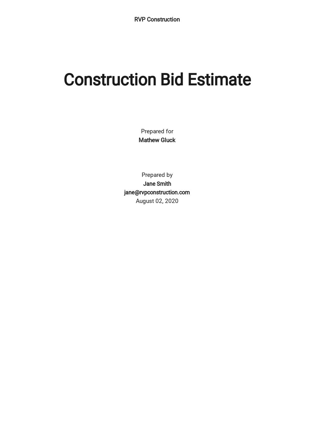 Construction Bid Estimate Template