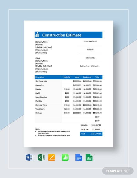Construction Estimate Template