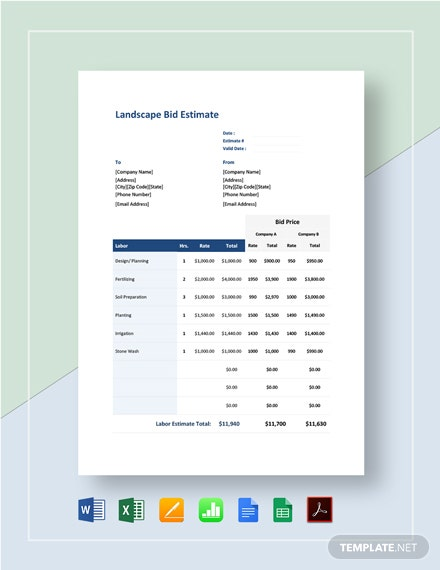 Landscape Bid Estimate Template