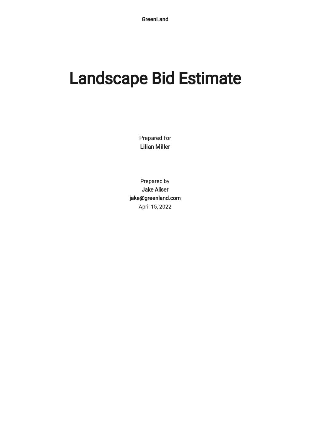 Landscape Bid Estimate Template