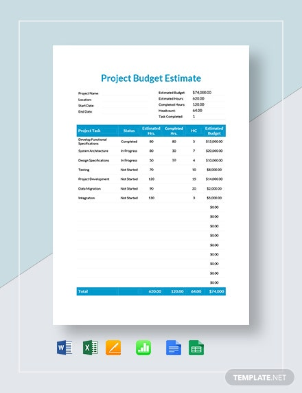 project budget estimate