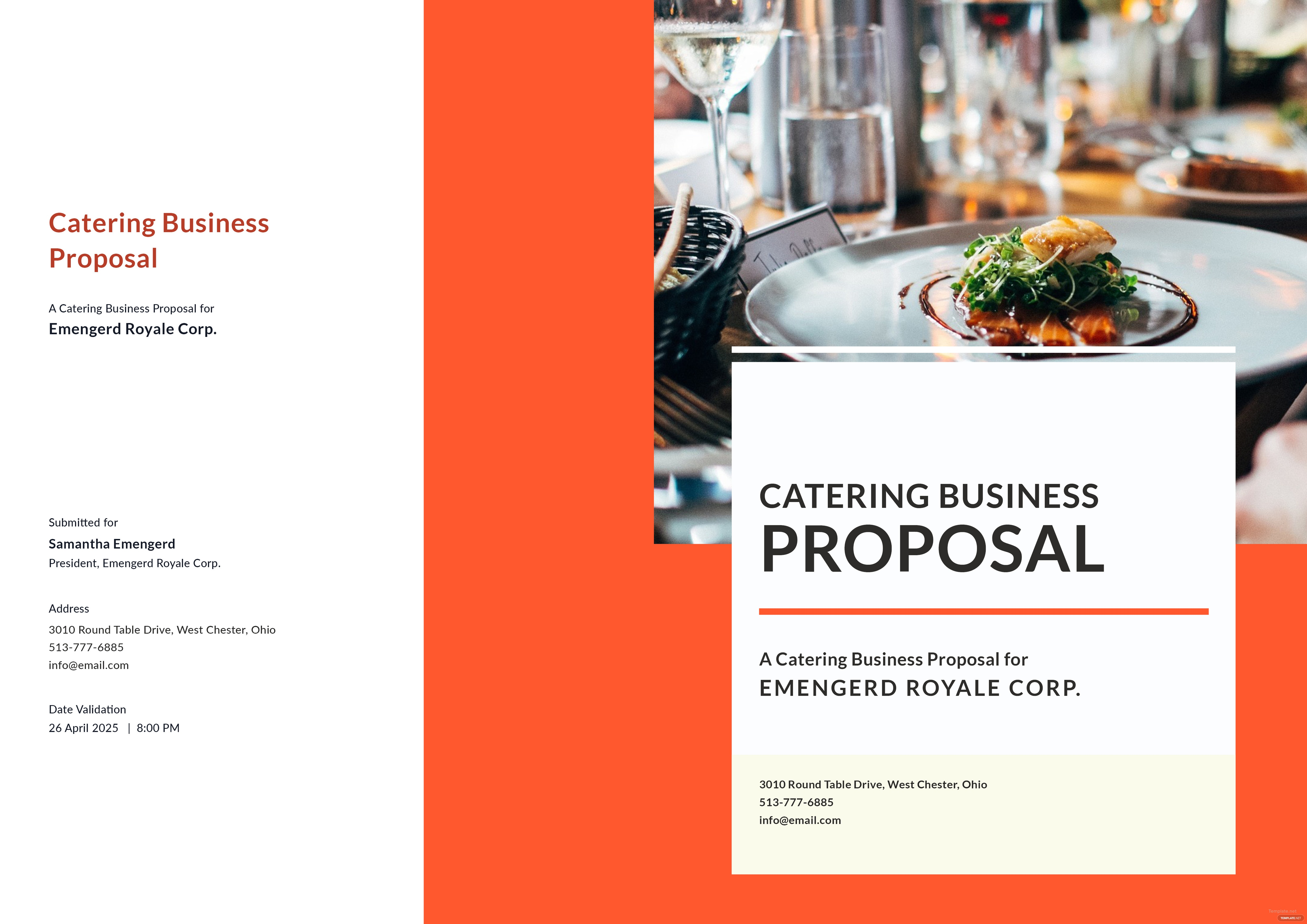 Catering business proposal template in microsoft word publisher click to see full template catering business proposal accmission Image collections