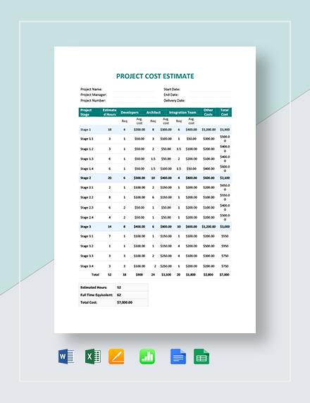 Project Cost Estimate Template