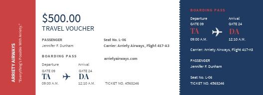 Airline Ticket Voucher Template