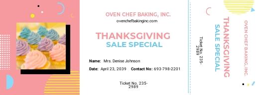 Bake Sale Ticket Template