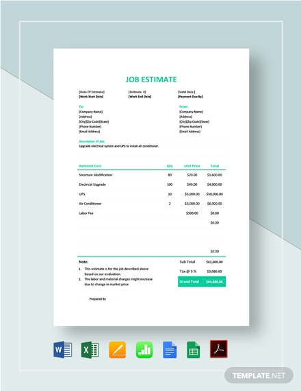 Simple Job Estimate Template