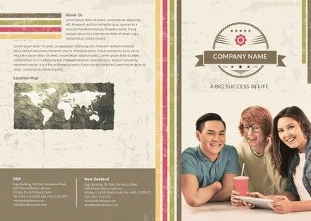 Free Multipurpose Retro Bi-fold Brochure Template
